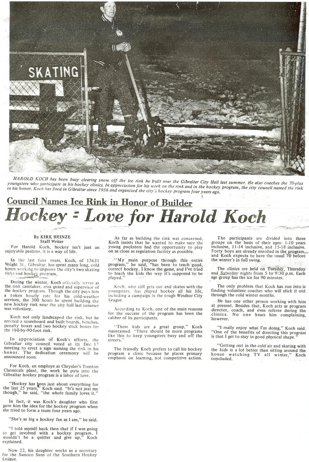 Harold Koch Hockey Article